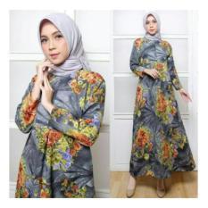 maxi dres zahra maryam dark grey baju muslim fashion gamis wanita