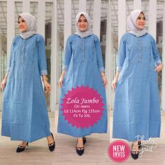 Maxi Dress Wanita - Zola Jumbo - Gamis Jeans Busui