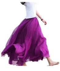 Cara Beli Maxi Panjang Bohemian Mengembalikan Wanita Shinning Chiffon Long Skirt Fuchsia