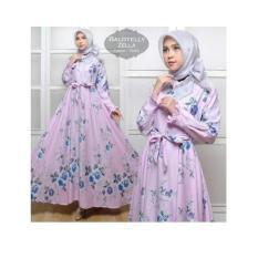 maxi zella bunga violet fashion wanita baju muslim gamis dres