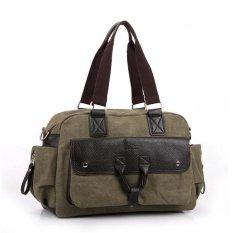 Mungkin Sky Hot Penjualan Mens Classic Canvas Tote Tas Multi-saku Chic Shoulder Bags Praktis Traveling Bags (Army Hijau) MSAVL2 (Warna: Sebagai Gambar Pertama)-Intl