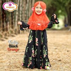 Maysuun Babykids Hijab, Gamis Anak Perempuan branded, Baju Muslim Anak Perempuan Motif Bunga, Tulip Warna Hitam