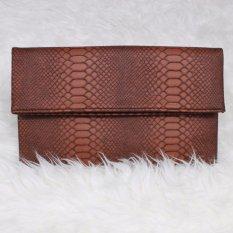 Mazuya Kalisha Tas Women Woman Wanita Pesta Leather Clutch Bag - Moka