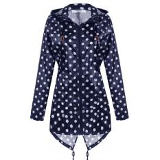 Meaneor Fashion Women Girls Dot Raincoat Fishtail Hooded Print Jacket Rain Coat ( Navy Blue ) - intl