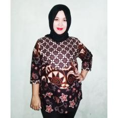 Medan Nida Shop - Atasan Wanita Batik Rami Cantik - Blouse Wanita - Pakaian Wanita - Perpaduan Warna Coklat & Hitam