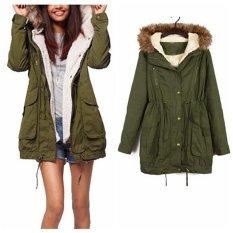MEGA Wanita Musim Dingin Mantel Bulu Faux Berkerudung Trench Coat Jaket Parka Mantel Hijau Tentara