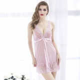 Jual Meiniang Brand V Lured Deep S*Xy Lace Openwork Sling Shortnightgown Steel Holder Cottonwool Foreign Trade Underwear 7100 Intl Online Tiongkok