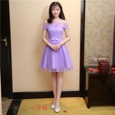 Spesifikasi Memimpin Pertunjukan Pesta Gaun Kecil Gaun Pengiring Pengantin Ungu Kata Bahu Ungu Kata Bahu Baju Wanita Dress Wanita Gaun Wanita Yang Bagus