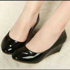 Harga Memoorini Sepatu Kerja Pantopel Wedges Hitam Baru