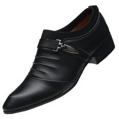 Mempelai Pria Korea Fashion Style Studio Untuk Mengambil Gambar Gaun Pengantin Sepatu Show Sepatu Kulit (7215 Matte Hitam (Harga Spesial 45 Yuan))
