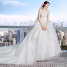 Eropa atau Amerika Putih Baru Fantasi Gaun Pengantin Gaun (Model Musim Panas Bahu Sabrina Berekor Panjang) Baju Wanita