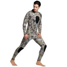 Harga Pria 3Mm Neoprene Wetsuit Penuh Tubuh Baju Hangat Up Winter Full Suit Swimwear Menebal Scuba Diving Snorkeling Suit Suit Camo Grey Intl Satu Set
