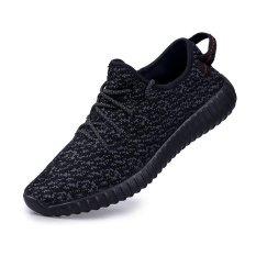 Pria & Wanita Casual Sneakers Breathable Running Sepatu Plus Ukuran 45 (Hitam)-Intl