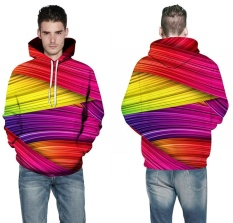 Pria dan Wanita Fashion Leisure 3D Bergaris Hooded Pakaian (Ukuran: S-6XL)-Intl