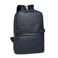 Toko Jual Pria Dan Wanita S Classic Woven Leather Backpack Sch**l Bag Navy Blue