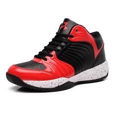 Pria Basket Shoes Berkualitas Tinggi Sepatu Kulit PU (Hitam) Intl