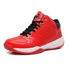 Pria Basket Shoes Berkualitas Tinggi PU Kulit Sepatu Anak (Merah) Intl