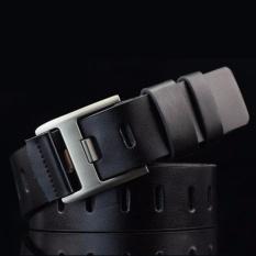 Pria Sabuk Kulit Asli Berkualitas Tinggi Man Belt Strap Unik Men's Belts Vintage Belt (0073-Hitam) -Intl