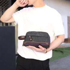Promo Pria Canvas Clutch Bag Business Kecil Tas Dompet Casual Canvas Wrist Tas Hitam Internasional Not Specified Terbaru