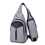 Jual Men Canvas Usb Fast Rechargeable Casual Chest Pack Fashion Messenger Bags Grey Intl Murah