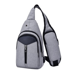Kualitas Men Canvas Usb Fast Rechargeable Casual Chest Pack Fashion Messenger Bags Grey Intl Domybestshop