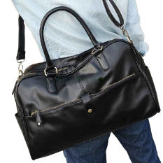 Jual Men Casual Faux Leather Large Tote Black Branded