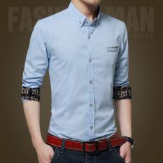 Pusat Jual Beli Pria Kasual Bisnis Formal Dress Shirt Lengan Panjang Pria Solid Slim Fit Shirt Intl Tiongkok