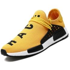 Pria Kasual Baru Fashion Sepatu Bernapas Ringan Air Mesh Pelatih Kasual Datar Umat Manusia Mens Sepatu (Kuning)