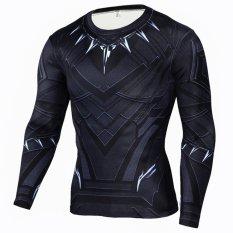 Pria Kompresi Ketat T-Shirt Lengan Panjang Cetakan Lapisan Dasar (Tipe 4)-Intl