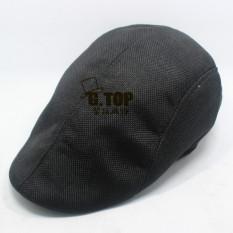 Pria Katun Memuncak Cap Flat Hat Negara Newsboy Cabbie Golf Topi (Hitam)