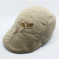 Pria Katun Memuncak Cap Flat Hat Negara Newsboy Cabbie Golf Topi (Khaki)