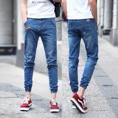 Harga Pria Cropped Jeans Korea Street Sembilan Celana Elastis Kaki Tertutup Pants Slim Denim Skinny Pants Leisure Remaja Pants Kasual Siswa Celana Intl Termurah