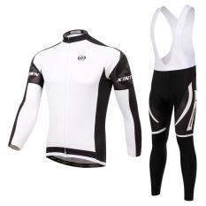 Cara Beli Men Cycling Jersey And Bib Pants Set Long Sleeve Quick Dry Breathable Gel Padded Intl