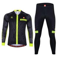 Harga Hemat Pria Bersepeda Set Pakaian Lengan Panjang Hitam Intl
