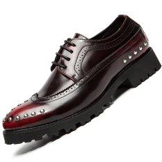 Alas Kaki Pria Kulit Asli 2016 Busana Pria Oxford Sepatu (Merah)-Intl