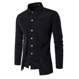 Beli Men Fake 2Pcs Double Breasted Pure Color Casual Thin Slim Fit Shirts Intl Online