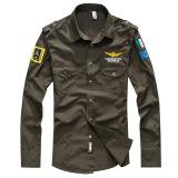 Toko Pria Fashion Angkatan Udara Kasual Dengan Bordiran Gaya Lengan Panjang Kemeja Slim Hijau Tentara Intl Termurah Tiongkok