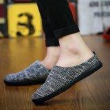 Jual Pria Fashion Casual Sepatunya Slip On Linen Sepatu Hitam Online Di Tiongkok
