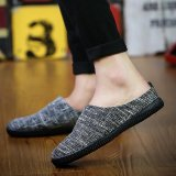 Jual Pria Fashion Casual Sepatunya Slip On Linen Sepatu Hitam Branded