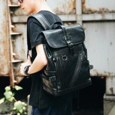 Promo Pria Fashion Kulit Sapi Backpack Schoolbag Tas Laptop Besar Kemampuan Paket Liburan Santai Tas Perjalanan Multifungsi Daypack Hitam Intl Oem