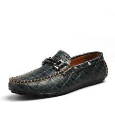 Jual Pria Fashion Buaya Striae Kulit Pantofel Hitam Not Specified Murah