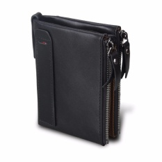 Men Fashion Double Zipper Genuine Leather Wallet Intl Diskon Tiongkok