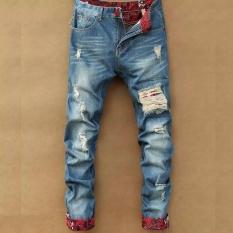 Toko Pria Fashion Lubang Mencuci Kaki Celana Kasual Longgar Lurus Jeans Intl Terlengkap Di Tiongkok