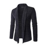 Beli Pria Fashion Warna Murni Wol Cardigan Sweater Dark Grey Murah Tiongkok