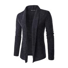 Toko Pria Fashion Warna Murni Wol Cardigan Sweater Dark Grey Di Tiongkok