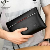 Diskon Pria Fashion Kulit Lembut Dompet Besar Kemampuan Envelope Bag Tas Wanita Santai Bisnis Wrist Bag Hitam Branded