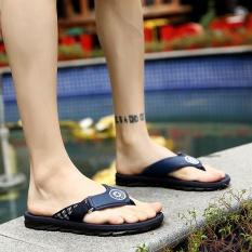 Pria Flip Jepit Musim Panas Sandal Pria Merek Designer Sandal Seaside Beach Casual Walking Sildes-Biru-Intl