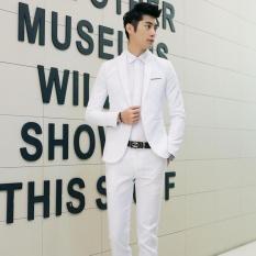 Pria Formal Setelan Satu Tombol Slim Fit Jaket Pernikahan Pengantin Lelaki Setelan Tuksedo Mantel Celana-Intl
