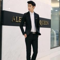 Pria Formal Pernikahan Pengantin Lelaki Setelan Satu Tombol Slim Fit Jaket Tuksedo Mantel Celana-Intl