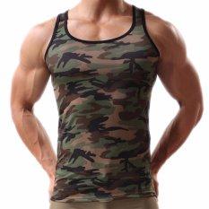 Harga Pria Hijau Army Camo Kamuflase Otot Gym Binaraga T Shirt Tank Top Rompi Internasional Merk Oem
